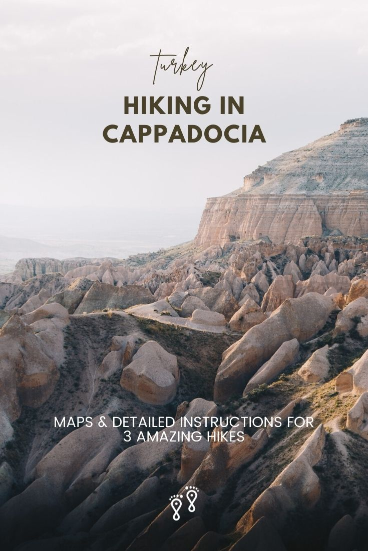 The canyons and sculpted rocks provide some breath-taking hiking in Cappadocia. But the trailheads and paths are tricky and obscure. So, our guide includes detailed instructions and maps for hiking in Cappadocia. #cappadocia