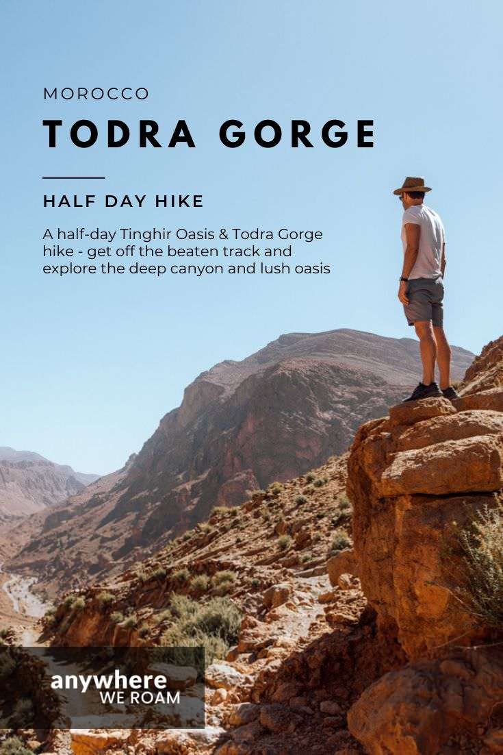Find time for this half-day Tinghir Oasis and Todra Gorge hike and you won't regret it. Deep rocky canyons, lush green oasis and nomadic settlements make this a thoroughly alluring Moroccan hike. / #morocco #todragorge #todra #tinghir #tinghiroasis