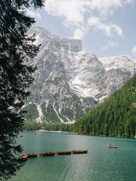 Row boats on Lago di Braies, Italy