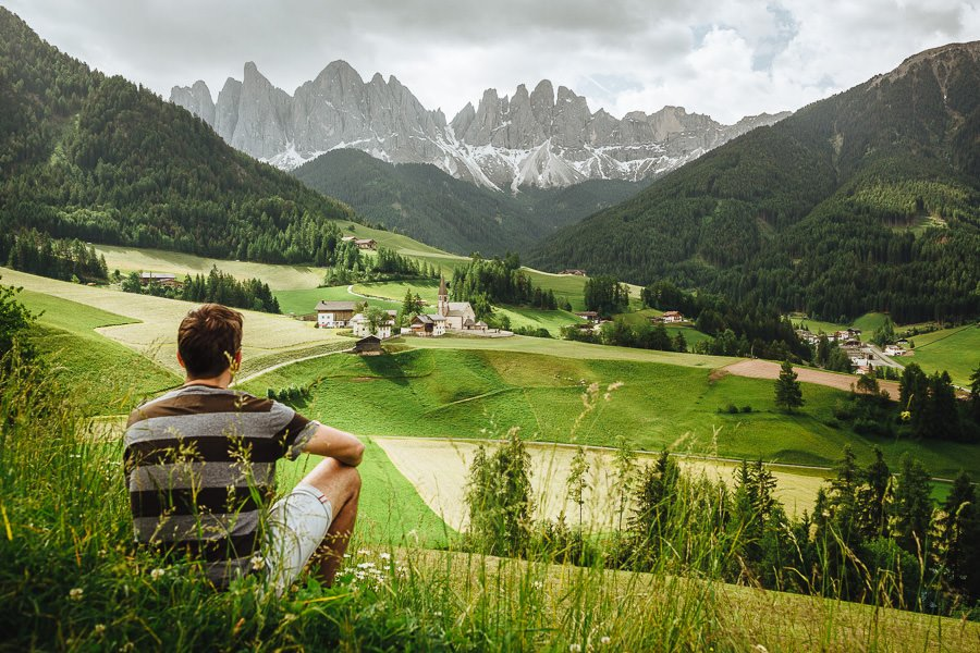 View of Santa Maddelena from the Panoramaweg trail in the Dolomites, Italy
