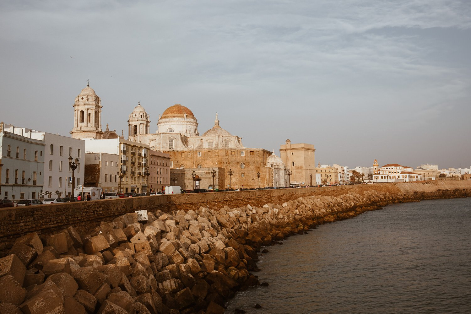 Cádiz Cathedral and old town in the late afternoon sun.