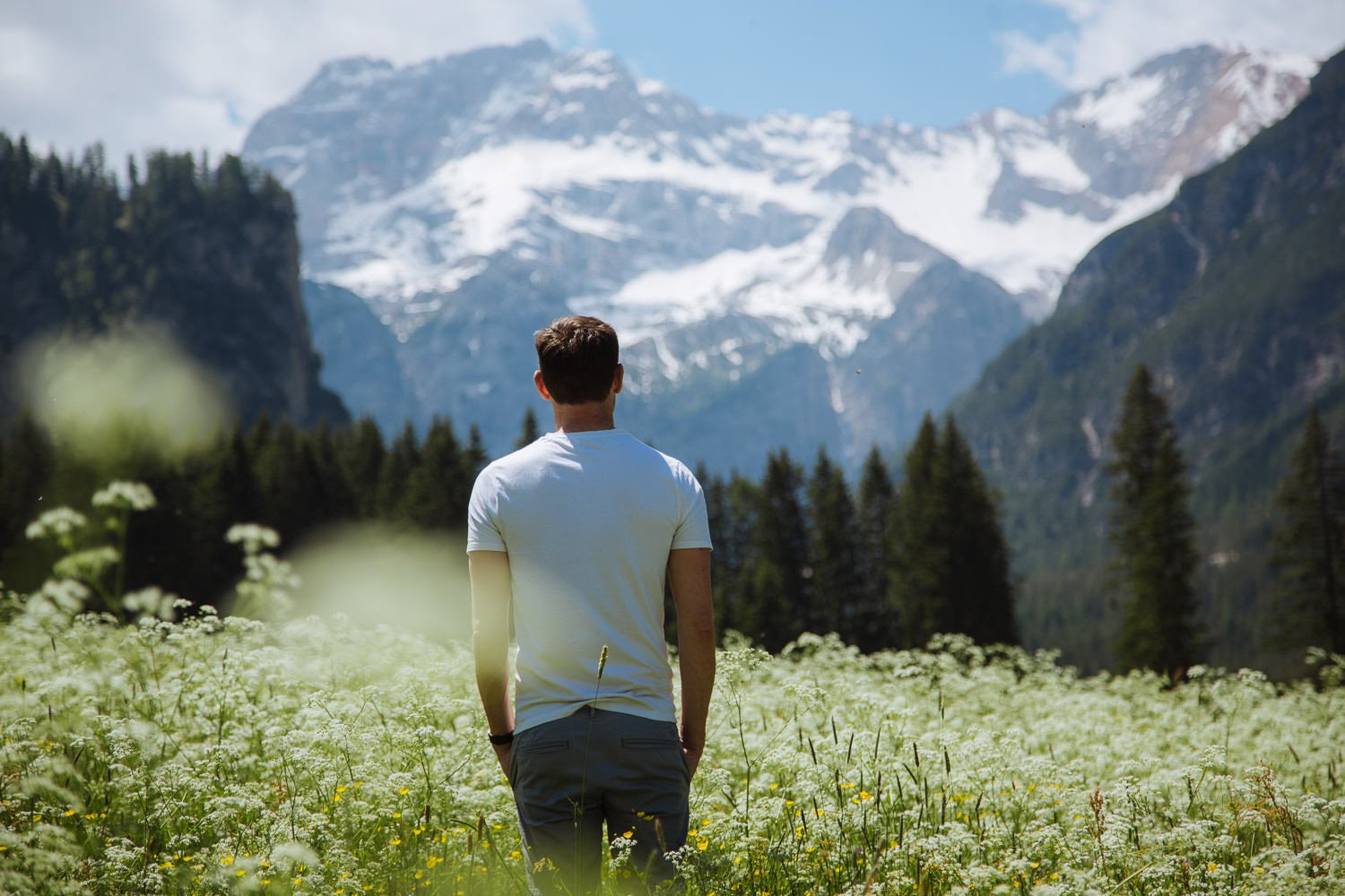man stands in a field of flowers with huge mountains in the background