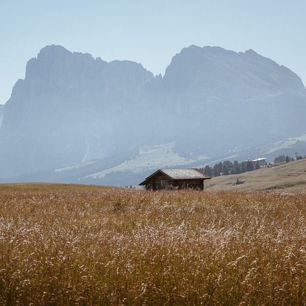 small hut in a grassy meadow with a misty mountain backdrop