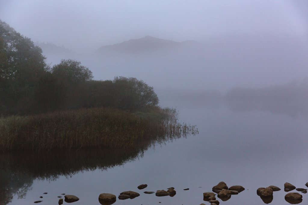 misy lake in the Lake District with indistinct mountains in the background