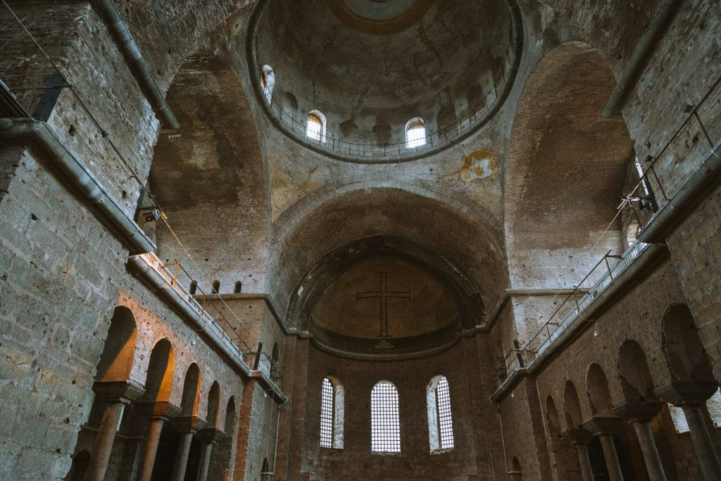Cavenous interior of Aya İrini in Istanbul