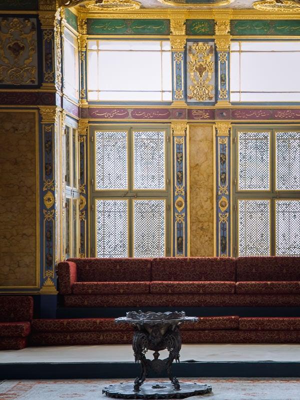 elaborate fittings inside a Turkish palace