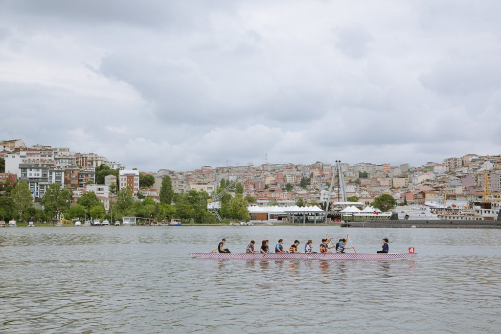 rowers on the bosphorus river in Istanbul