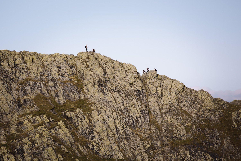 scramblers on a narrow ridge in the Lake District, Sharp Edge