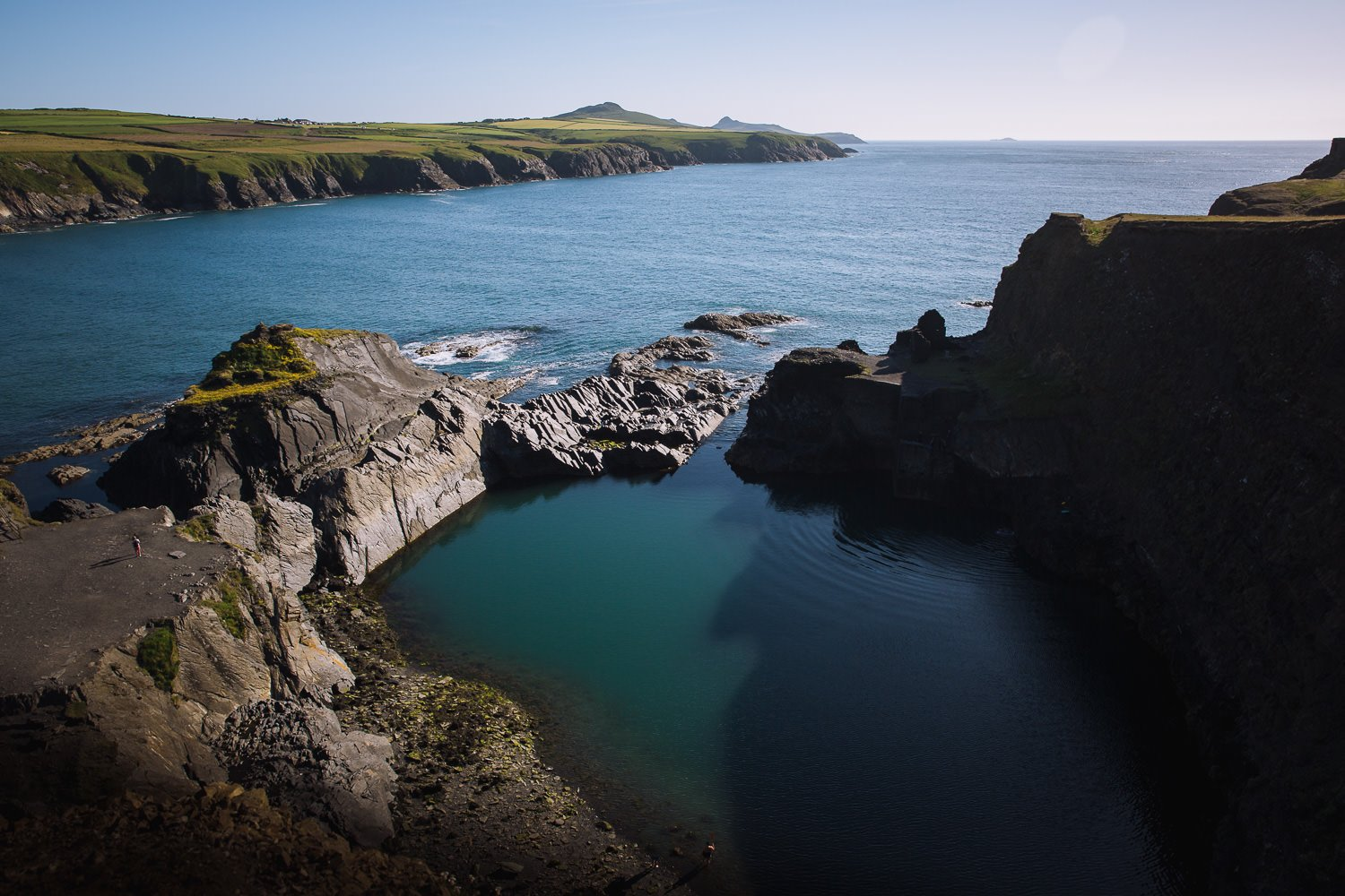 disused quarry pit in the ocean, Blue Lagoon Abereiddy